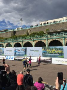 Coming up to the finishing line at the Brighton Marathon 2016